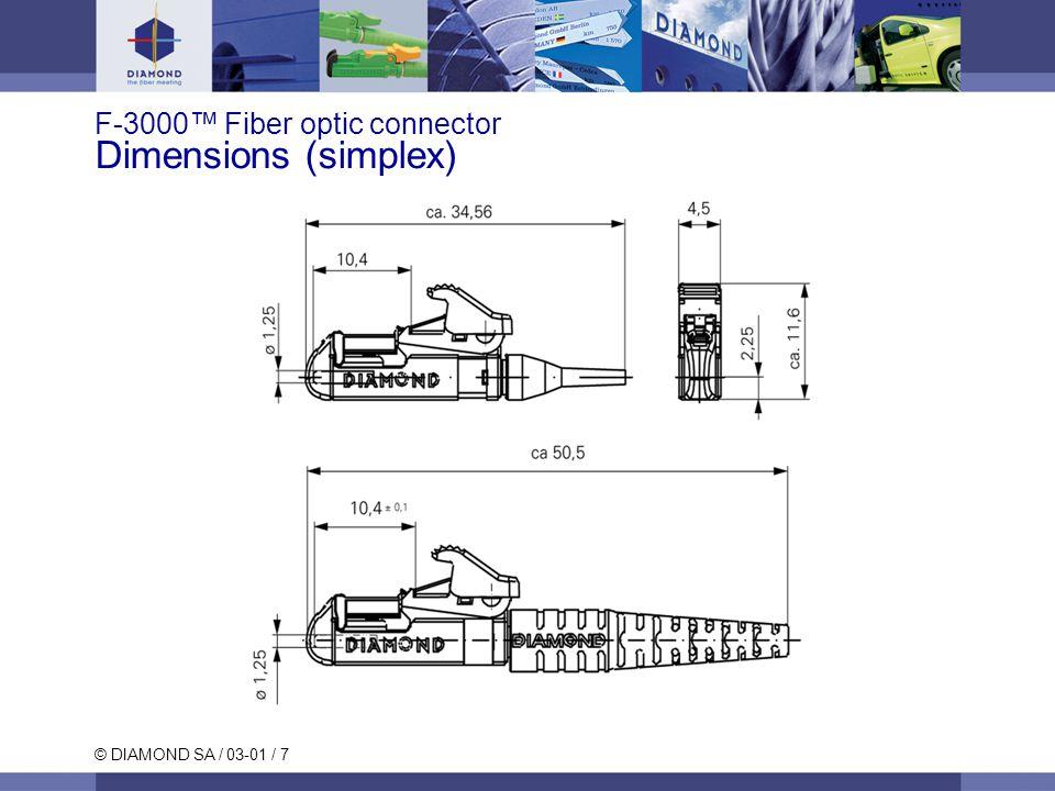 © DIAMOND SA / 03-01 / 8 Duplex button Bridge clip for duplex assembly F-3000™ Connector Dimensions (duplex)