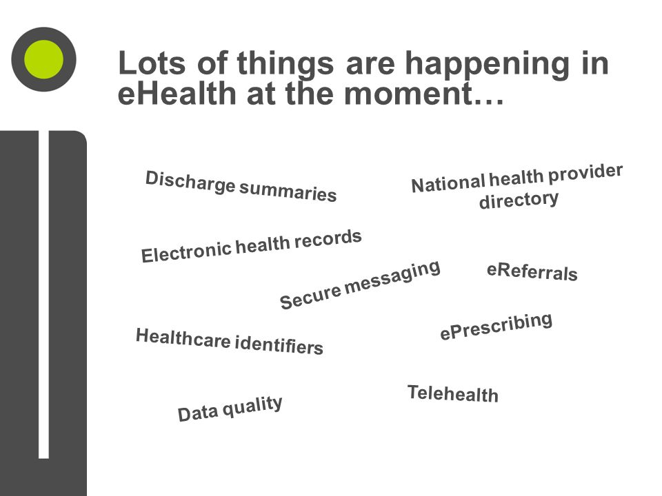 Lots of things are happening in eHealth at the moment… Discharge summaries Electronic health records Secure messaging Healthcare identifiers eReferrals National health provider directory Data quality ePrescribing Telehealth