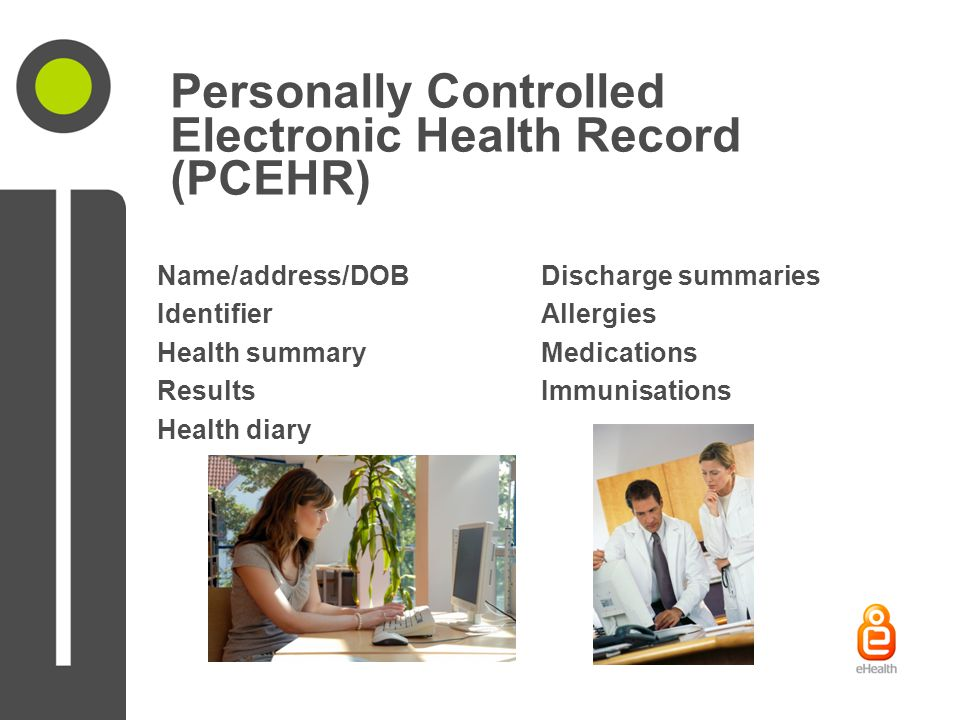 Personally Controlled Electronic Health Record (PCEHR) Name/address/DOBDischarge summaries IdentifierAllergies Health summaryMedications ResultsImmunisations Health diary