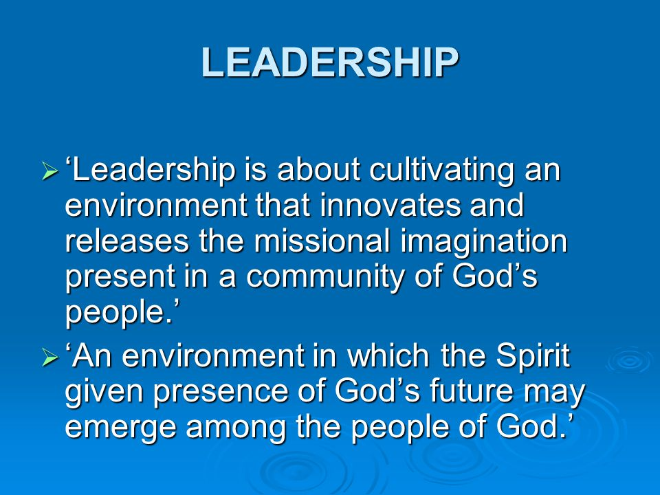 LEADERSHIP  'Leadership is about cultivating an environment that innovates and releases the missional imagination present in a community of God's peo
