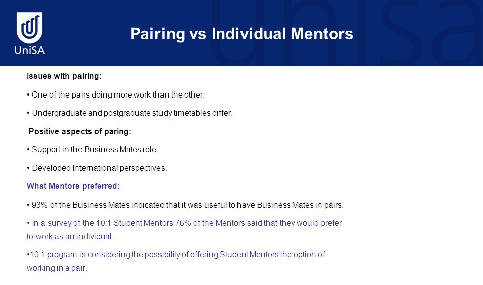 Pairing vs Individual Mentors Issues with pairing: One of the pairs doing more work than the other.