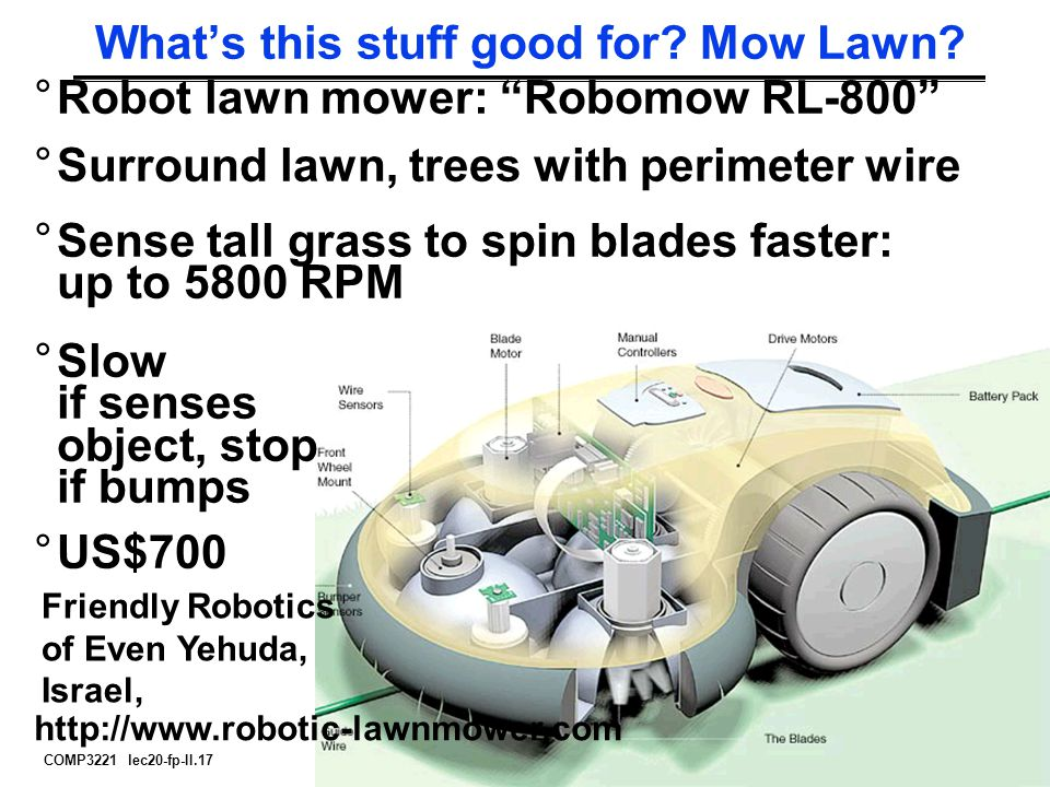 "COMP3221 lec20-fp-II.17 Saeid Nooshabadi What's this stuff good for? Mow Lawn? °Robot lawn mower: ""Robomow RL-800"" °Surround lawn, trees with perimete"