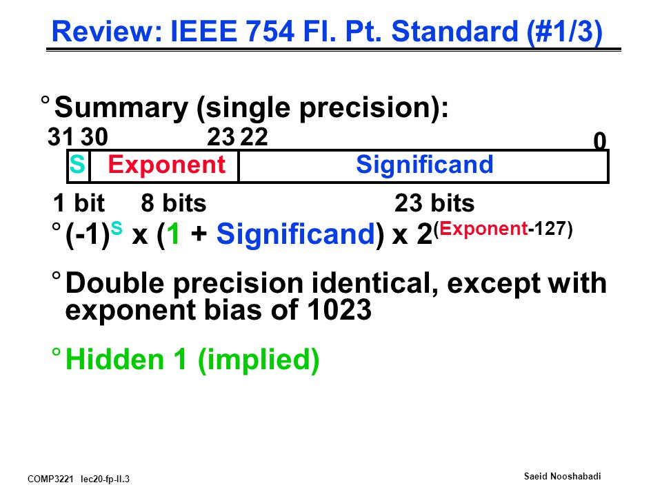 COMP3221 lec20-fp-II.3 Saeid Nooshabadi Review: IEEE 754 Fl. Pt. Standard (#1/3) °Summary (single precision): 0 31 SExponent 302322 Significand 1 bit8