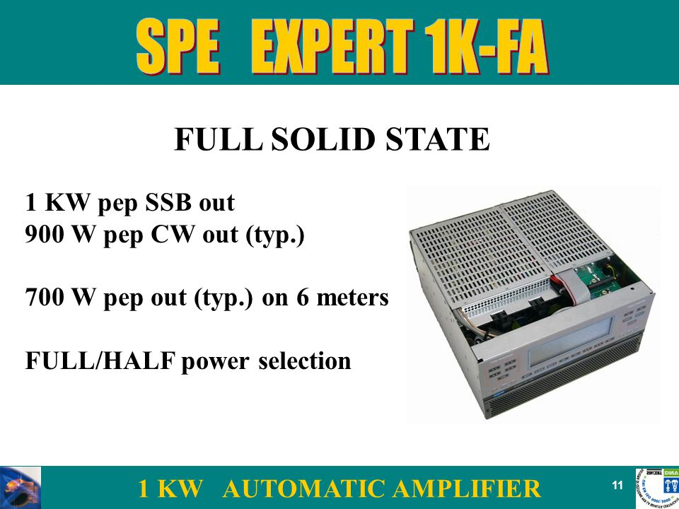 1 KW AUTOMATIC AMPLIFIER 11 FULL SOLID STATE 1 KW pep SSB out 900 W pep CW out (typ.) 700 W pep out (typ.) on 6 meters FULL/HALF power selection