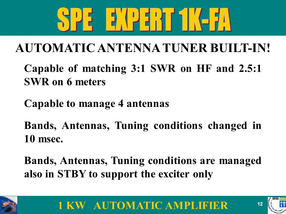 1 KW AUTOMATIC AMPLIFIER 12 AUTOMATIC ANTENNA TUNER BUILT-IN.
