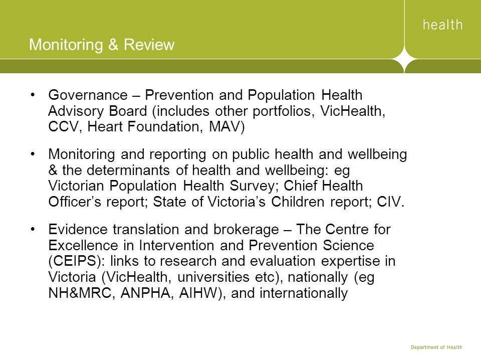 Monitoring & Review Governance – Prevention and Population Health Advisory Board (includes other portfolios, VicHealth, CCV, Heart Foundation, MAV) Mo