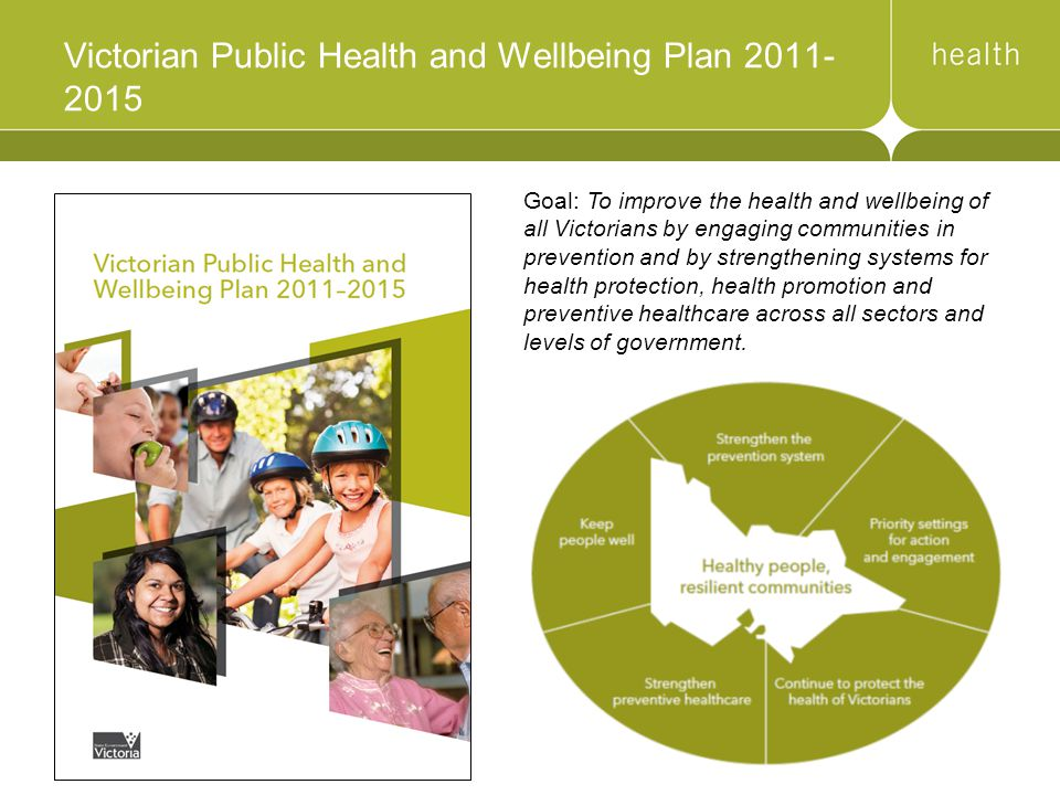 Victorian Public Health and Wellbeing Plan 2011- 2015 Goal: To improve the health and wellbeing of all Victorians by engaging communities in prevention and by strengthening systems for health protection, health promotion and preventive healthcare across all sectors and levels of government.