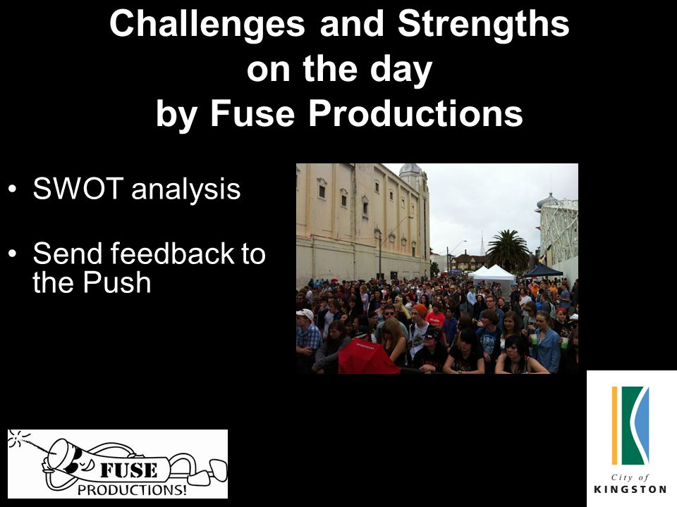 Challenges and Strengths on the day by Fuse Productions SWOT analysis Send feedback to the Push