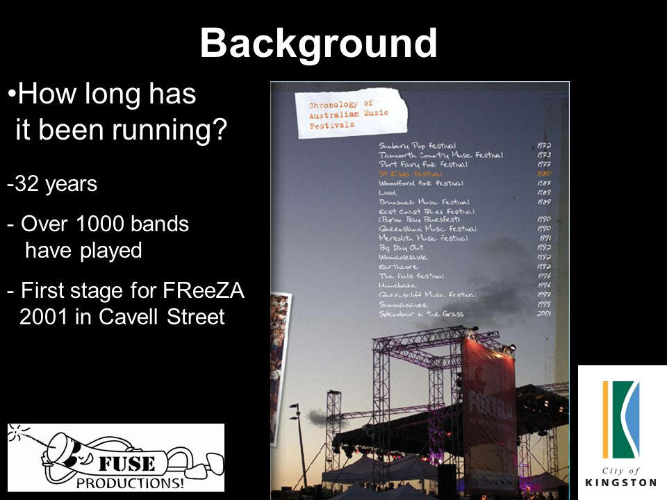 Background How long has it been running? -3-32 years - Over 1000 bands have played - First stage for FReeZA 2001 in Cavell Street