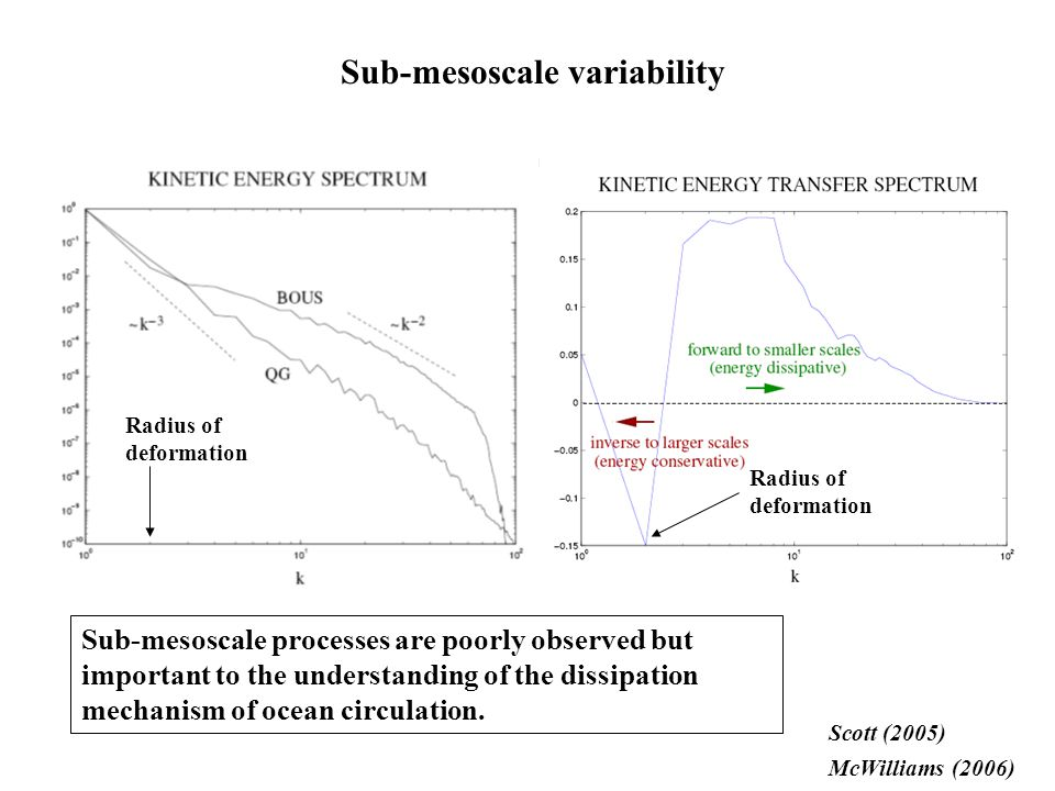 Scott (2005) McWilliams (2006) Sub-mesoscale variability Sub-mesoscale processes are poorly observed but important to the understanding of the dissipa