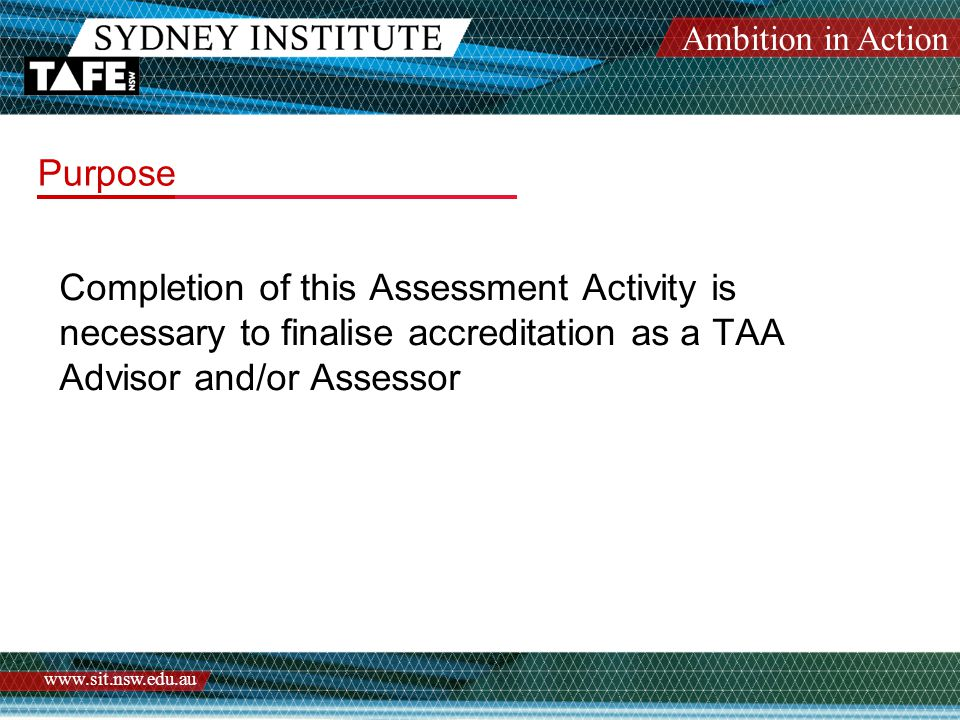 Ambition in Action www.sit.nsw.edu.au TAA1 Action Plan The following are Comments on Strengths and Weaknesses.