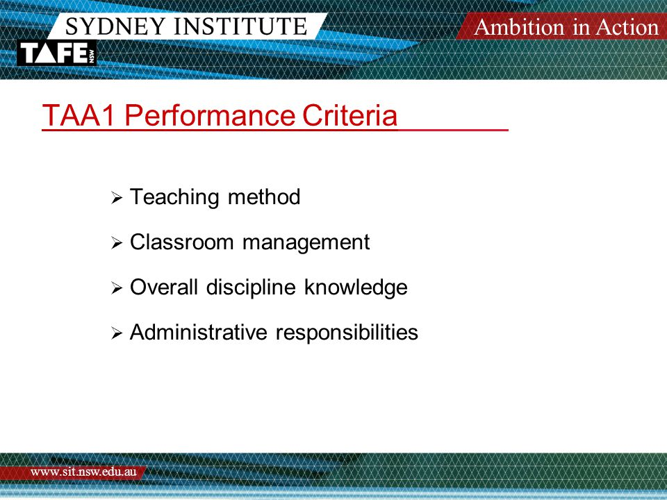 Ambition in Action www.sit.nsw.edu.au TAA1 Action Plan Assessment Case Study Sharon – new Teacher of Business The following are Comments on Strengths and Weaknesses are from her TAA1 observation.