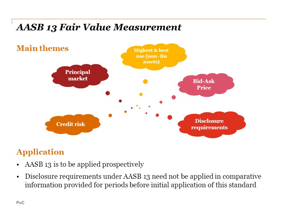 PwC AASB 13 Fair Value Measurement Main themes Application AASB 13 is to be applied prospectively Disclosure requirements under AASB 13 need not be applied in comparative information provided for periods before initial application of this standard Bid-Ask Price Principal market Disclosure requirements Credit risk Highest & best use (non–fin assets)