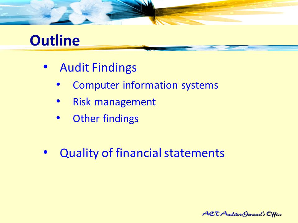 Outline Audit Findings Computer information systems Risk management Other findings Quality of financial statements