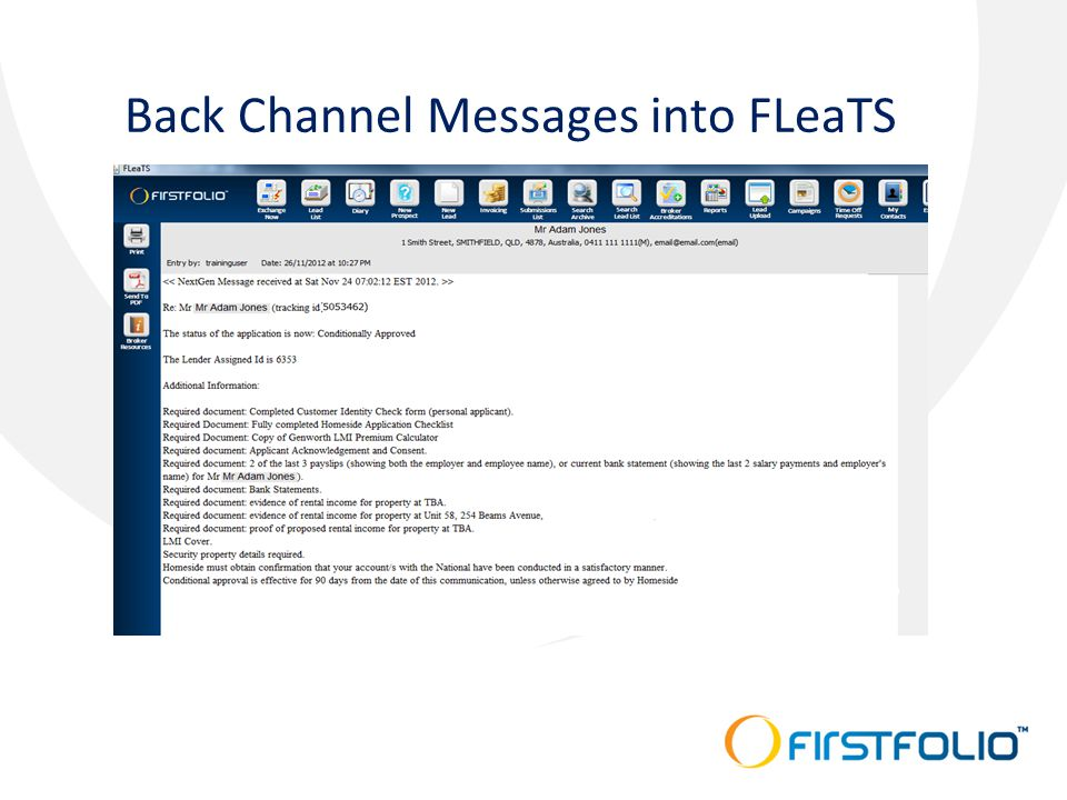 Back Channel Messages into FLeaTS