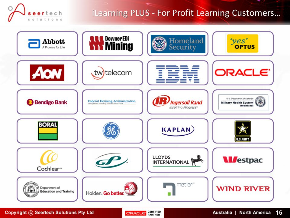 iLearning PLUS - For Profit Learning Customers… 16
