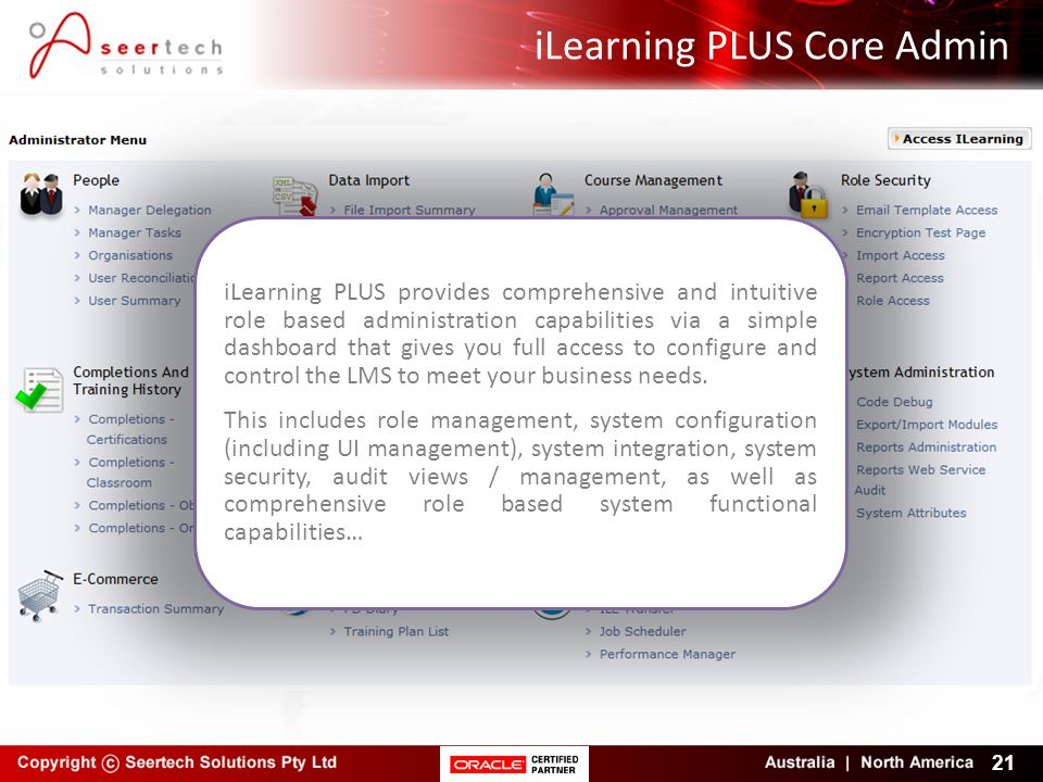 iLearning PLUS Core Admin 21 iLearning PLUS provides comprehensive and intuitive role based administration capabilities via a simple dashboard that gi