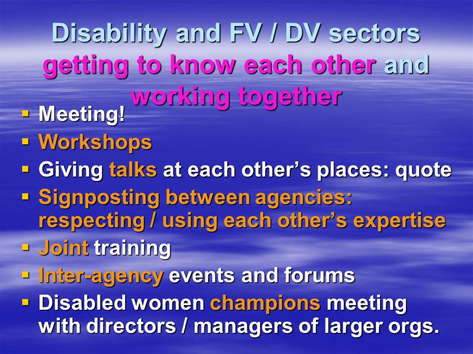 Disability and FV / DV sectors getting to know each other and working together  Meeting.