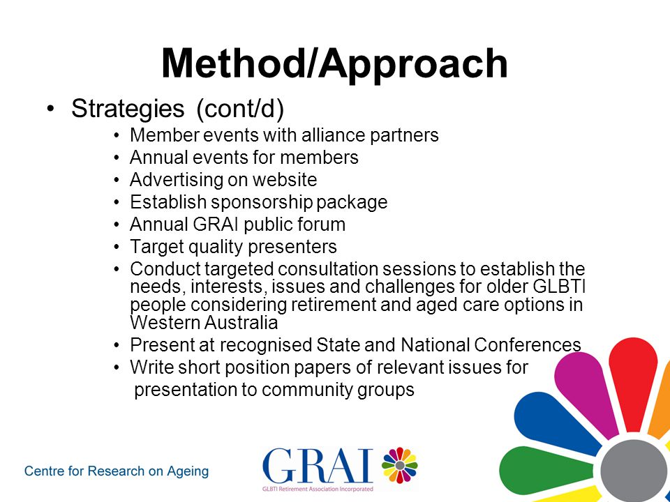 Method/Approach Strategies (cont/d) Member events with alliance partners Annual events for members Advertising on website Establish sponsorship package Annual GRAI public forum Target quality presenters Conduct targeted consultation sessions to establish the needs, interests, issues and challenges for older GLBTI people considering retirement and aged care options in Western Australia Present at recognised State and National Conferences Write short position papers of relevant issues for presentation to community groups