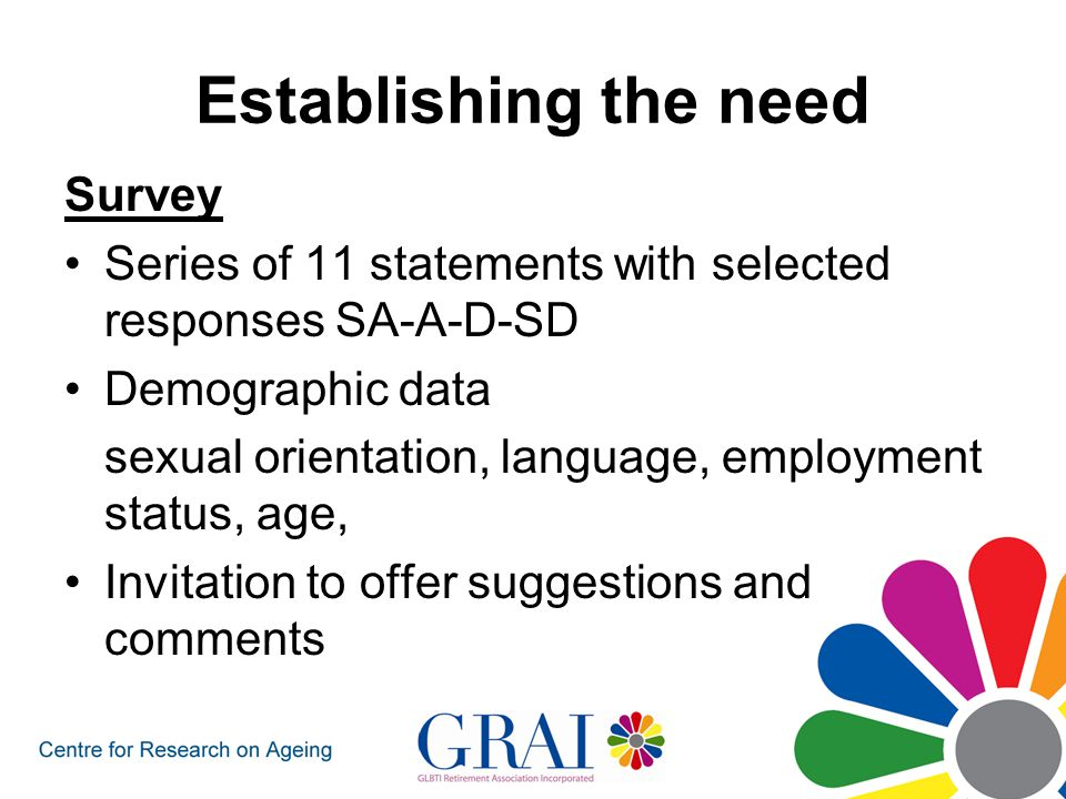 Establishing the need Survey Series of 11 statements with selected responses SA-A-D-SD Demographic data sexual orientation, language, employment status, age, Invitation to offer suggestions and comments