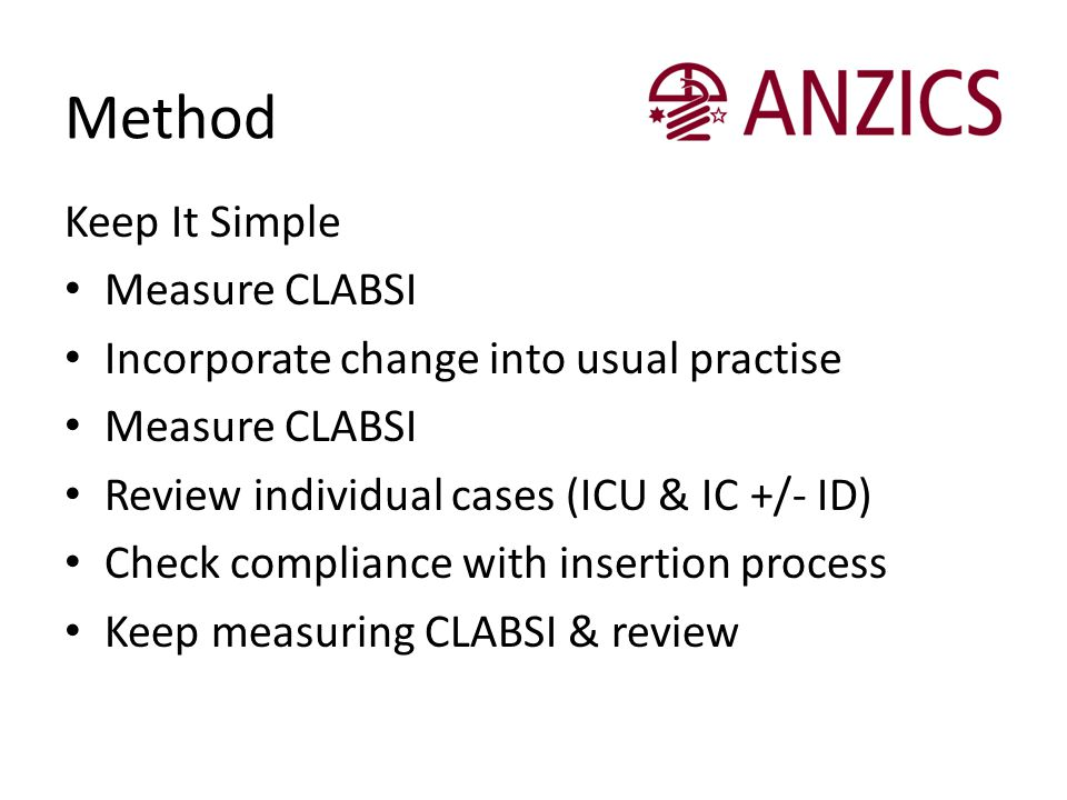 Method Keep It Simple Measure CLABSI Incorporate change into usual practise Measure CLABSI Review individual cases (ICU & IC +/- ID) Check compliance