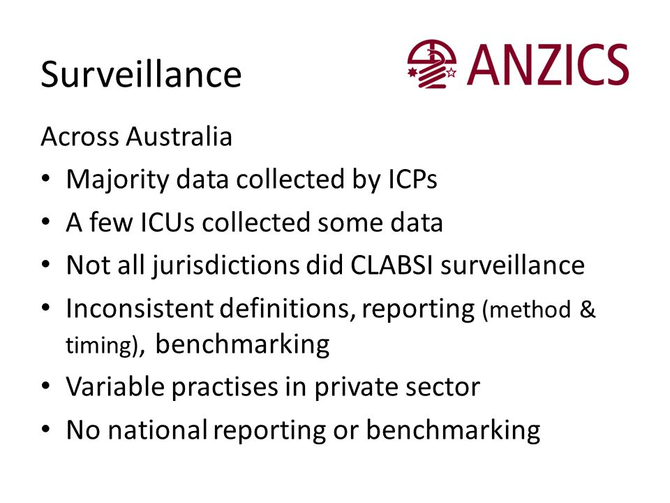 Surveillance Across Australia Majority data collected by ICPs A few ICUs collected some data Not all jurisdictions did CLABSI surveillance Inconsisten