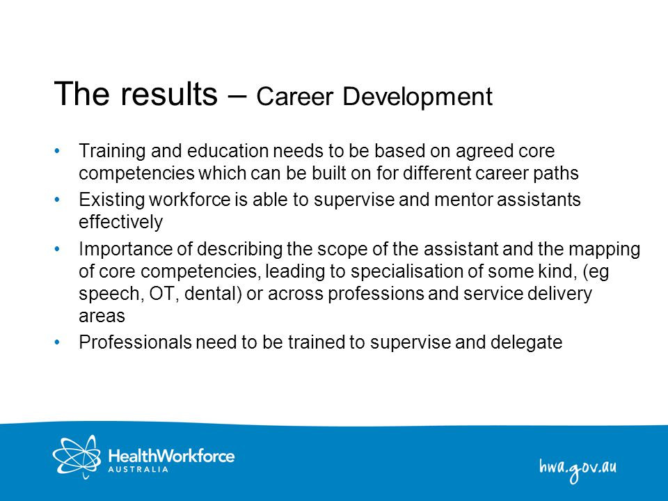 23 The results – Career Development Training and education needs to be based on agreed core competencies which can be built on for different career pa