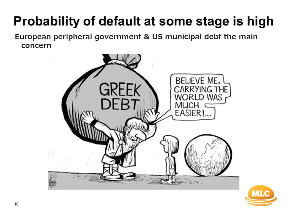16 Probability of default at some stage is high European peripheral government & US municipal debt the main concern