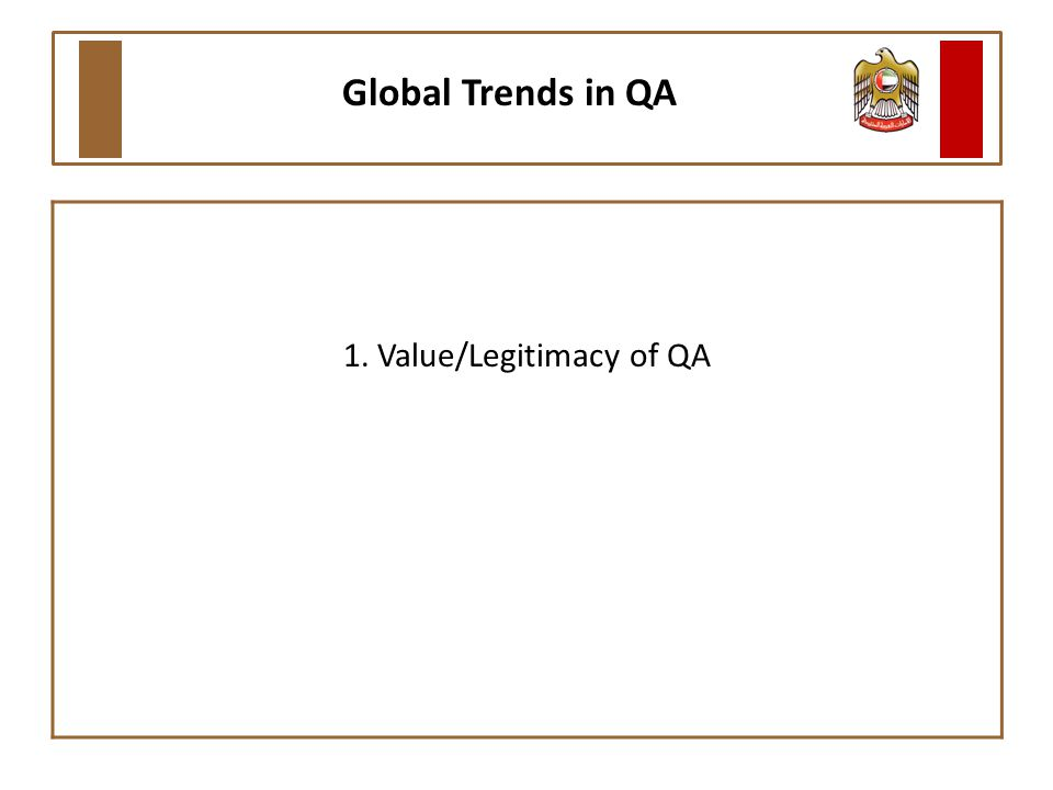 1. Value/Legitimacy of QA Global Trends in QA