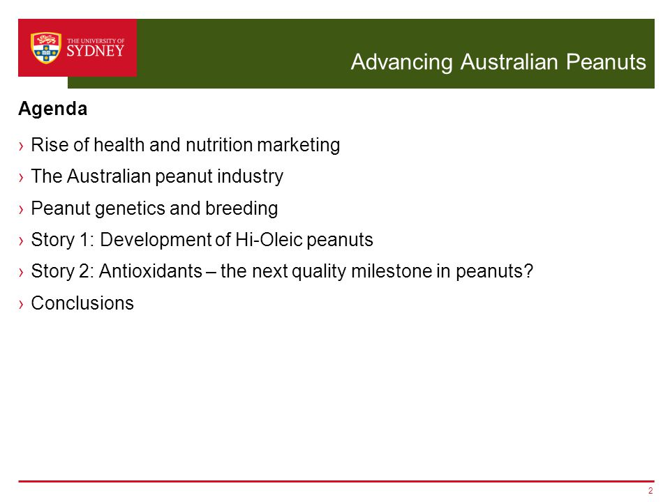 Advancing Australian Peanuts ›Rise of health and nutrition marketing ›The Australian peanut industry ›Peanut genetics and breeding ›Story 1: Development of Hi-Oleic peanuts ›Story 2: Antioxidants – the next quality milestone in peanuts.
