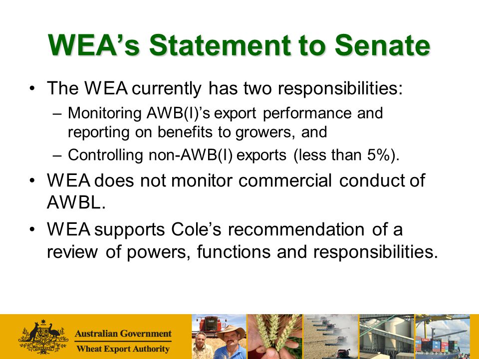 Comments on Growers Report Generally favourable media, for example ProFarmer said: The latest Growers Report positions the WEA as an authoritative, independent and very valuable industry resource (ie.