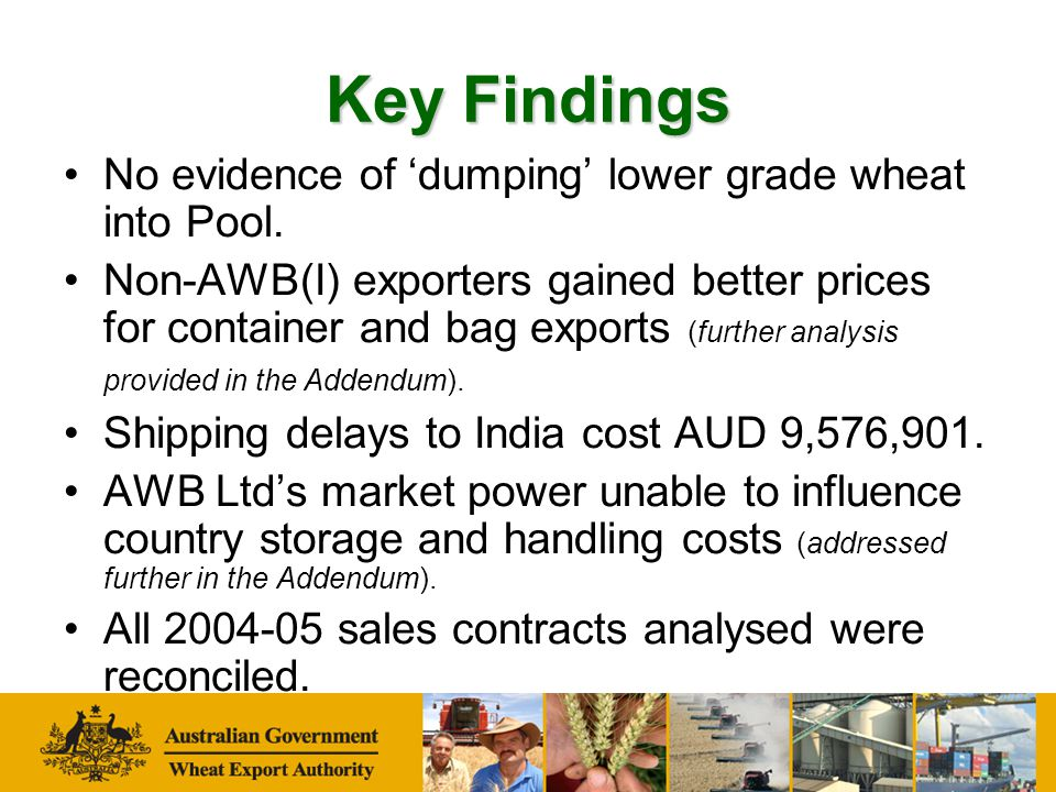 Key Findings Remuneration provided AWB Ltd an increase share of National Pool equity.