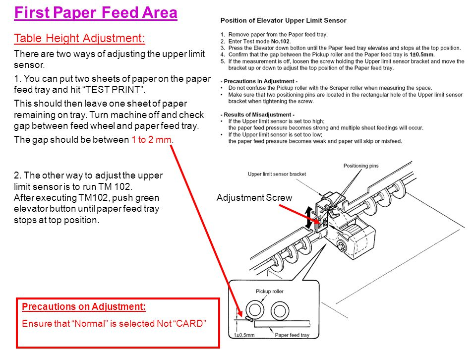 First Paper Feed Area Table Height Adjustment: There are two ways of adjusting the upper limit sensor.