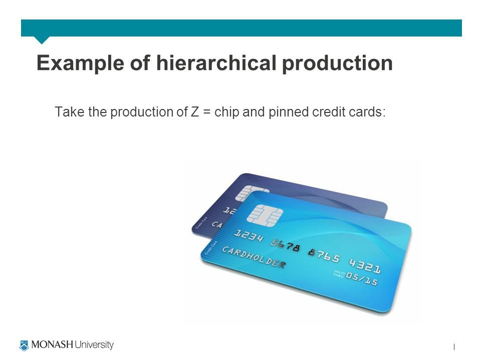 Example of hierarchical production Take the production of Z = chip and pinned credit cards: