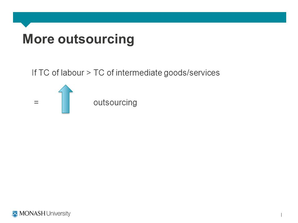 More outsourcing If TC of labour > TC of intermediate goods/services = outsourcing