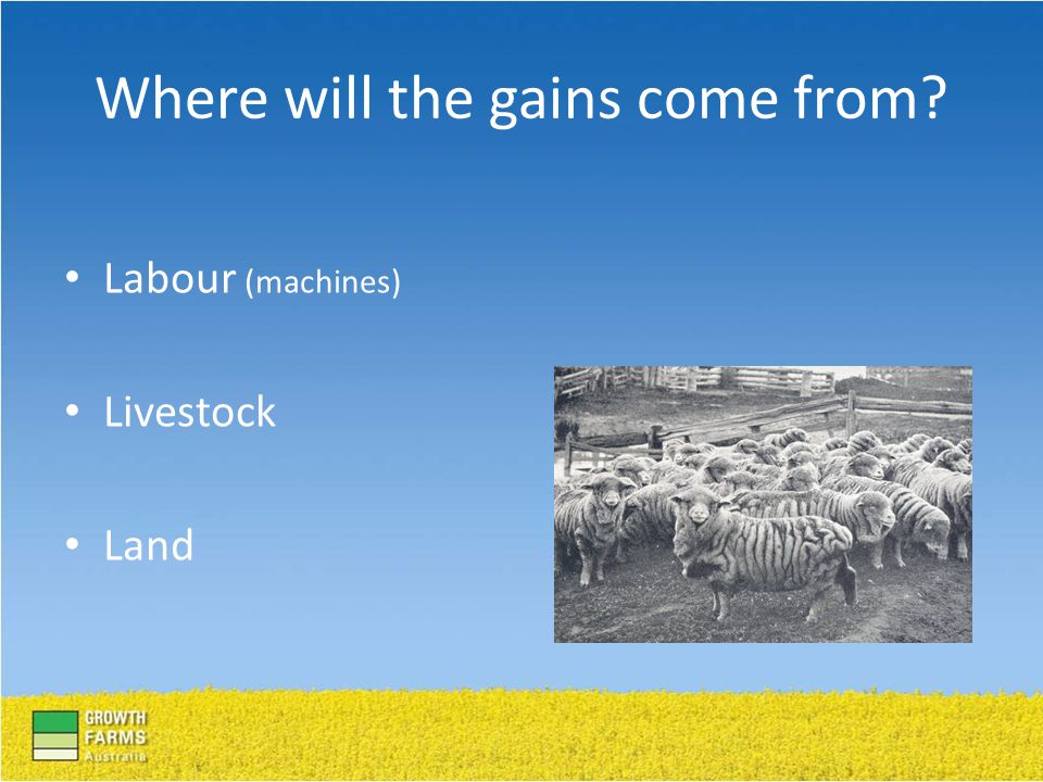Labour (machines) Livestock Land Where will the gains come from?