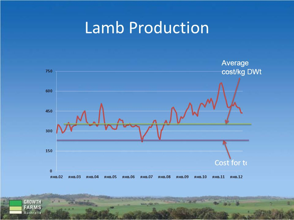 Lamb Production Average cost/kg DWt
