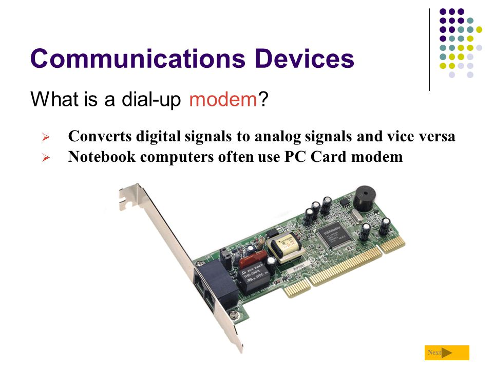 Communications Devices What is a dial-up modem? Next  Converts digital signals to analog signals and vice versa  Notebook computers often use PC Car