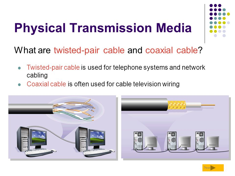 Physical Transmission Media What are twisted-pair cable and coaxial cable? Next Twisted-pair cable is used for telephone systems and network cabling C