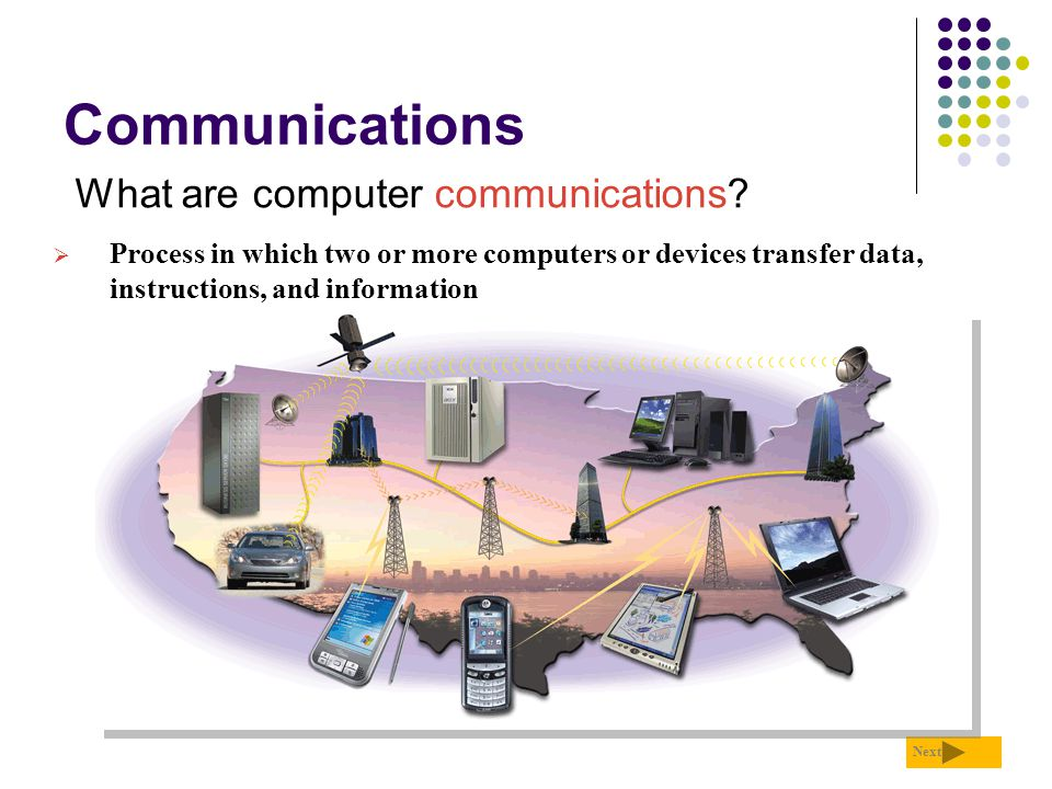 Communications What are computer communications? Next  Process in which two or more computers or devices transfer data, instructions, and information