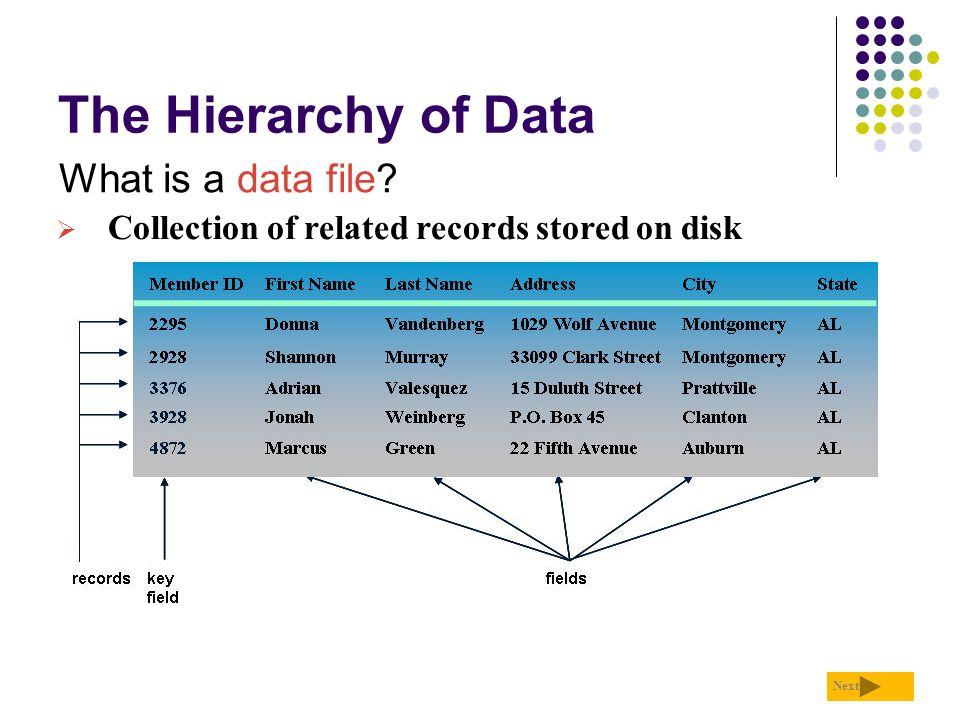 The Hierarchy of Data What is a data file? Next  Collection of related records stored on disk