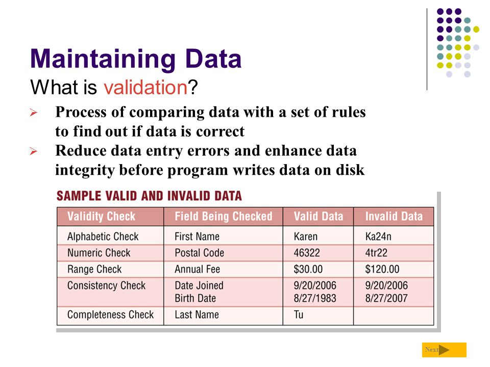 Maintaining Data What is validation? Next  Process of comparing data with a set of rules to find out if data is correct  Reduce data entry errors an