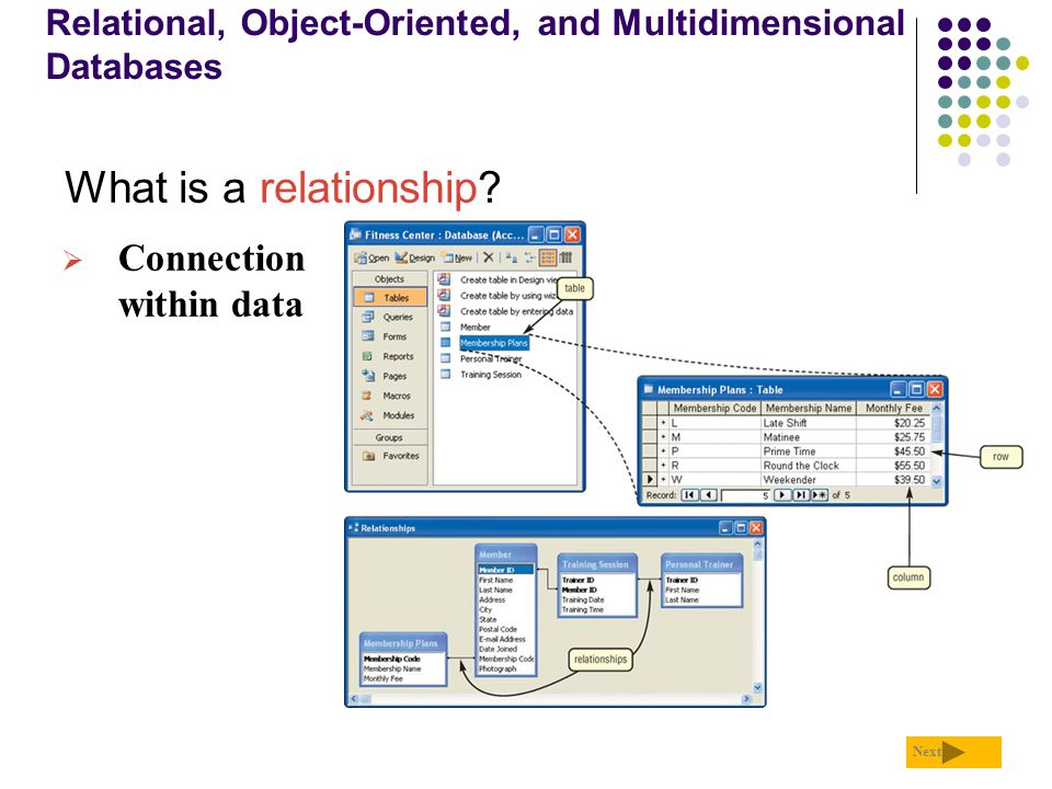 Relational, Object-Oriented, and Multidimensional Databases What is a relationship? Next  Connection within data