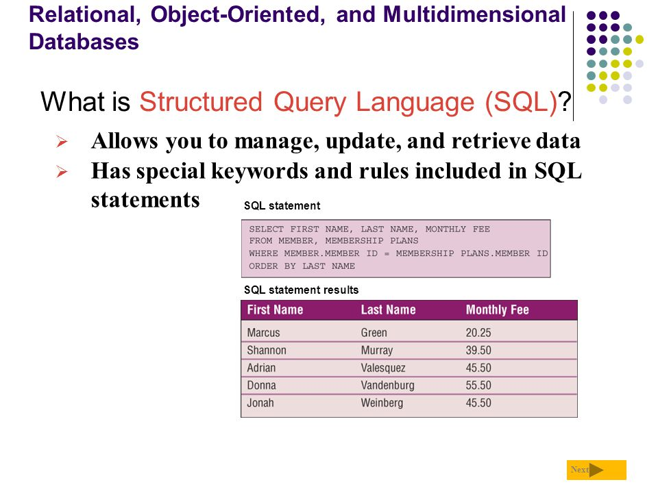 Relational, Object-Oriented, and Multidimensional Databases What is Structured Query Language (SQL)? Next  Allows you to manage, update, and retrieve