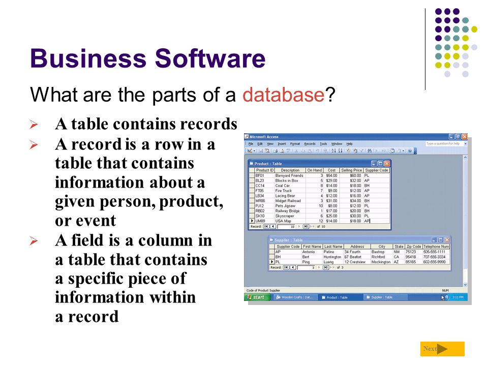 File Processing Versus Databases How do a database application and a file processing application differ in the way they store data.