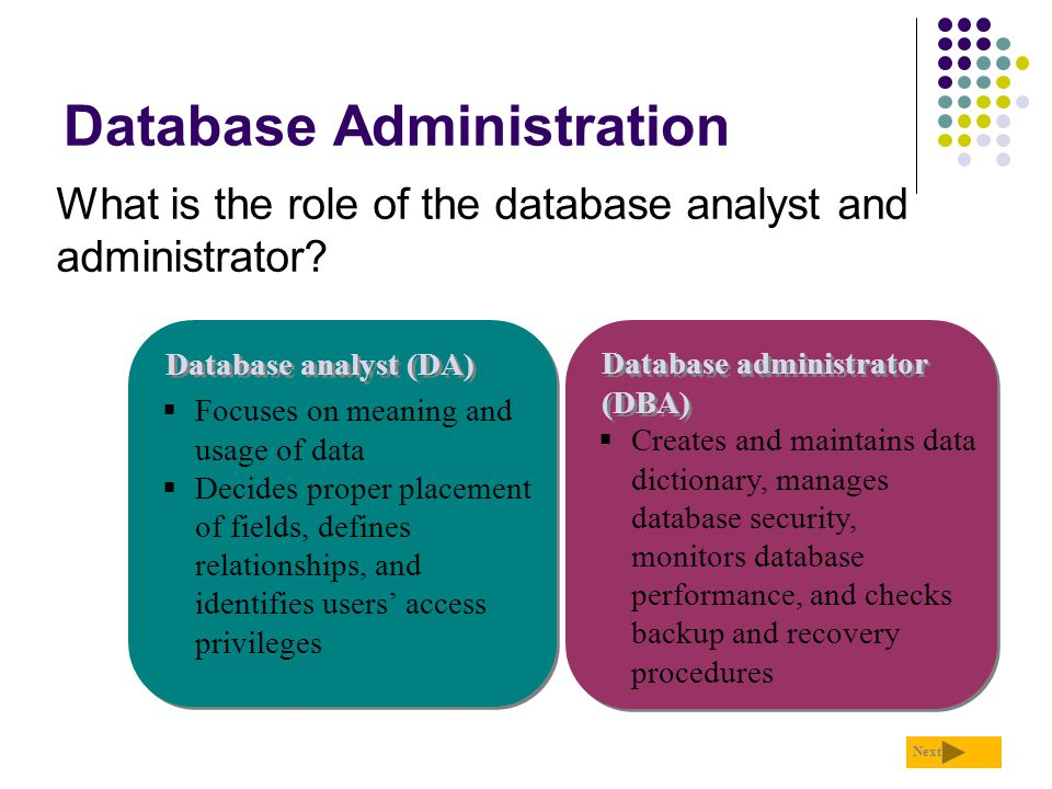 Database Administration What is the role of the database analyst and administrator? Next Database analyst (DA) Database administrator (DBA)  Focuses