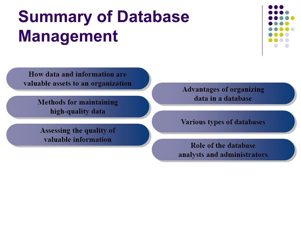 Summary of Database Management How data and information are valuable assets to an organization Methods for maintaining high-quality data Assessing the