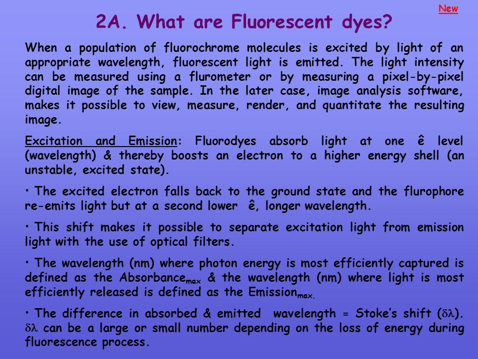 New 2A. What are Fluorescent dyes? When a population of fluorochrome molecules is excited by light of an appropriate wavelength, fluorescent light is