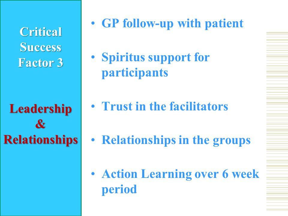 GP follow-up with patient Spiritus support for participants Trust in the facilitators Relationships in the groups Action Learning over 6 week period CriticalSuccess Factor 3 Leadership&Relationships