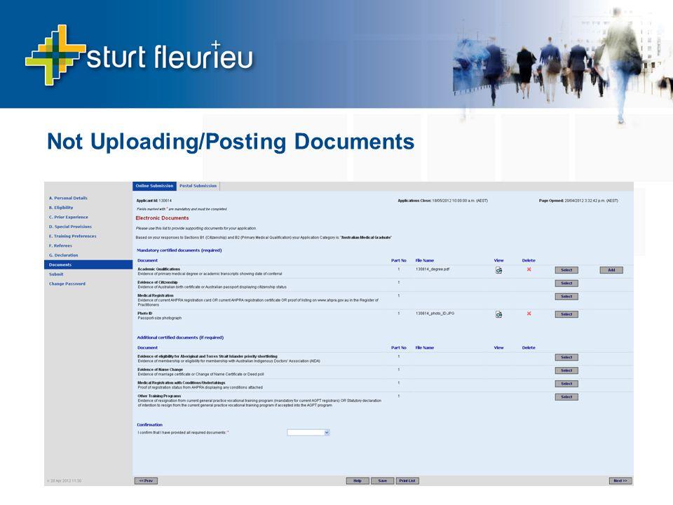 Not Uploading/Posting Documents